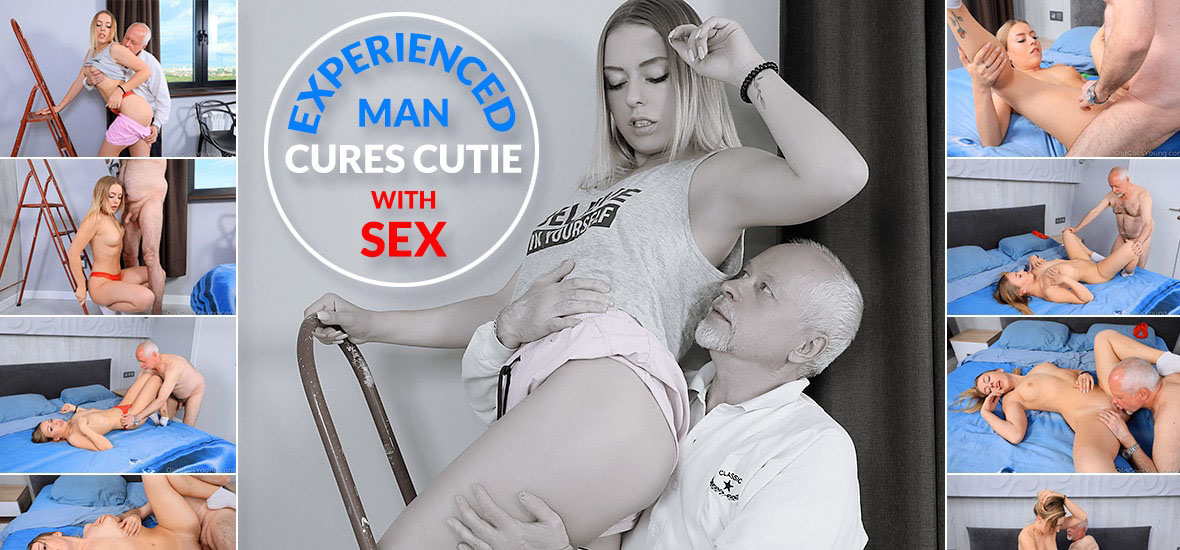 Experienced man cures cutie with sex.